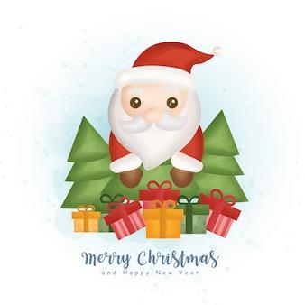 Inverno aquarela de natal com árvore de natal, elemento de papai noel e natal para cartões, convites, papel, embalagens,