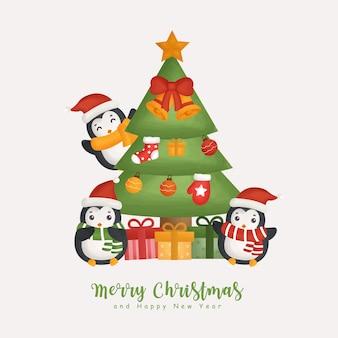 Inverno aquarela de natal com pinguins fofos e elemento de natal para cartões, convites, papel, embalagens.