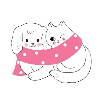 Inverno bonito dos desenhos animados, cão e gato