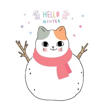 Inverno bonito dos desenhos animados, gato é boneco de neve.