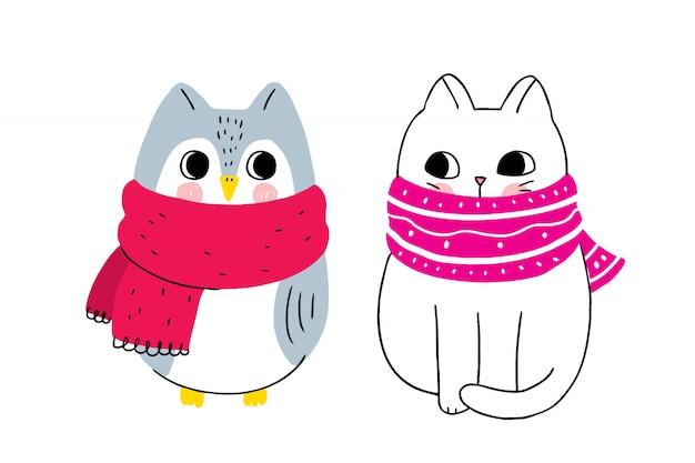 Inverno bonito dos desenhos animados, gato e coruja