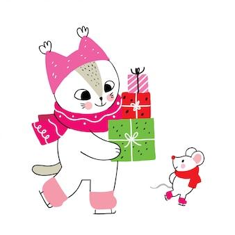 Inverno bonito dos desenhos animados, gato e rato e presente