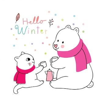 Inverno bonito dos desenhos animados, gato e urso polar bebendo café