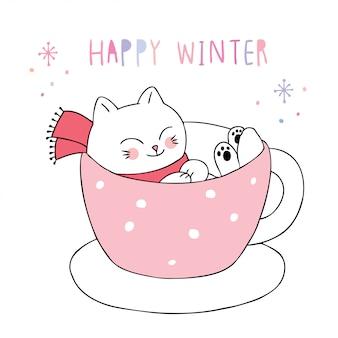 Inverno bonito dos desenhos animados, gato na xícara de café.