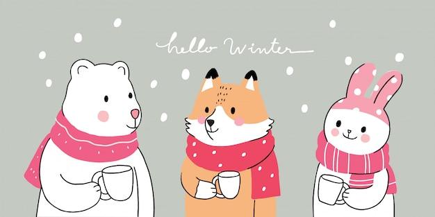 Inverno bonito dos desenhos animados, urso polar e raposa e coelho beber café