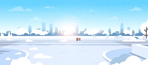 Inverno cidade neve parque bela natureza luz do sol paisagem urbana ilustração vetorial plana horizontal