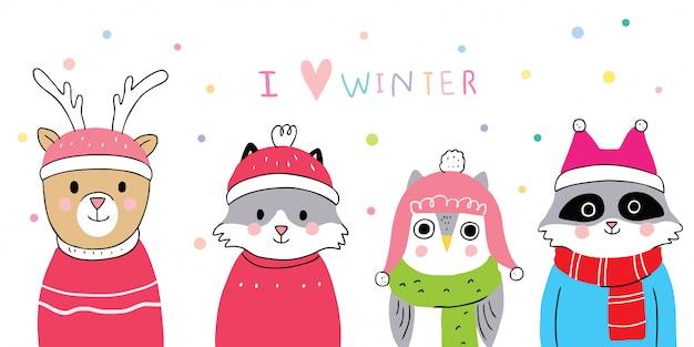 Inverno de animais fofos dos desenhos animados