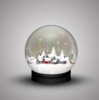 Inverno de cúpula de vidro em casa de madeira no natal