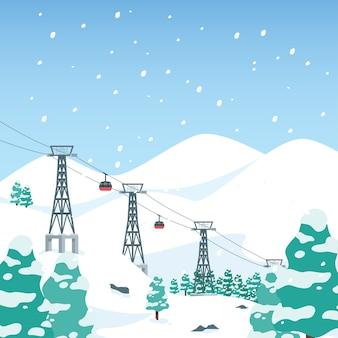 Inverno de estância de esqui de montanha