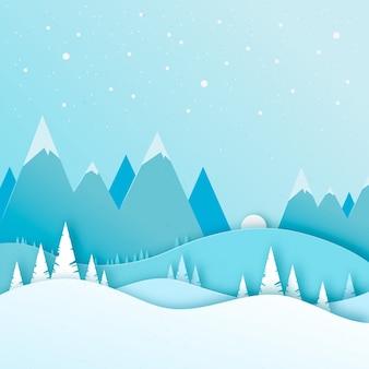 Inverno de estilo de papel de paisagem