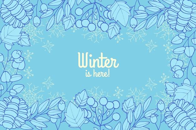 Inverno de mão desenhada é aqui fundo