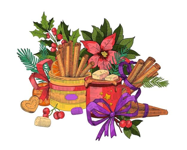 Inverno de natal gravura banner com paus de canela, chocolate quente, marshmallow, fita, ramos de abeto, biscoito em forma de coração. bandeira de feriado aconchegante de ano novo e natal isolada no branco.