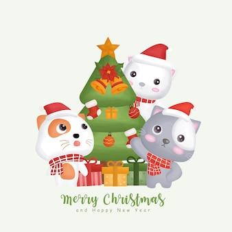 Inverno em aquarela de natal com gatos bonitos e elementos de natal.