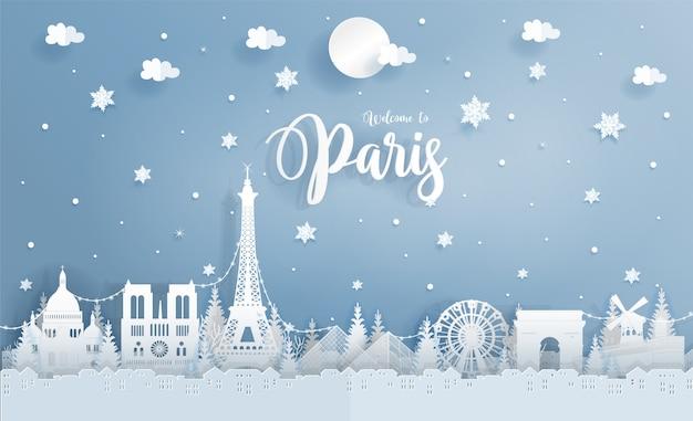 Inverno, em, paris, frança, com, mundo, famosos, marco