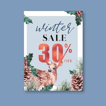 Inverno floral florescendo cartaz, cartão postal elegante para decoração vintage lindo