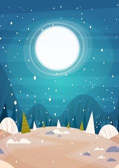 Inverno floresta paisagem lua brilhando sobre árvores nevadas, feliz natal e feliz ano novo conceito de férias banner