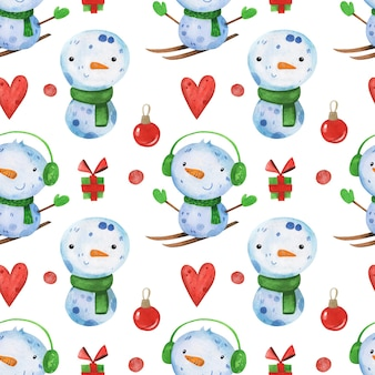 Inverno fofo natal padrão sem emenda desenhado à mão em aquarela