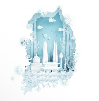 Inverno na coreia do sul para viagens e tour conceito de publicidade