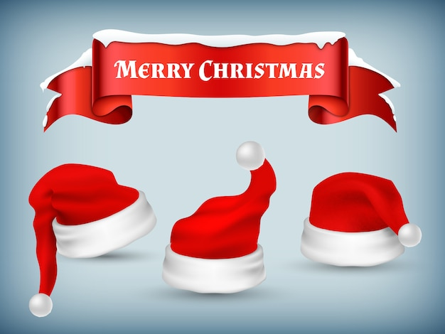 Inverno natal banner vector com chapéus de papai noel realistas e