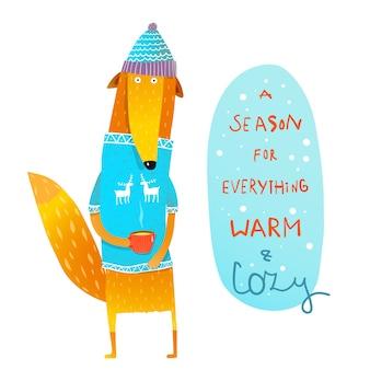Inverno quente e aconchegante com raposa