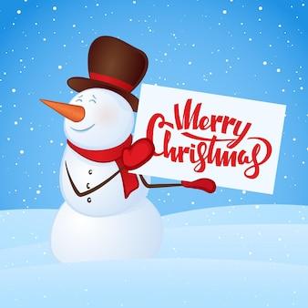 Inverno sorridente boneco de neve com banner em branco nas mãos no fundo do monte de neve. feliz natal.