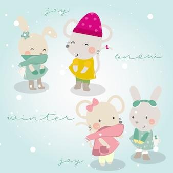Inverno temáticos animais bonitos para crianças Vetor Premium