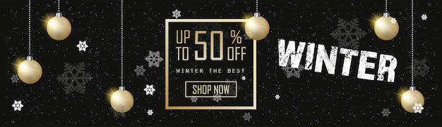 Inverno venda banner dourado natal bolas temporada compras modelo desconto especial oferta fundo preto cartaz plana