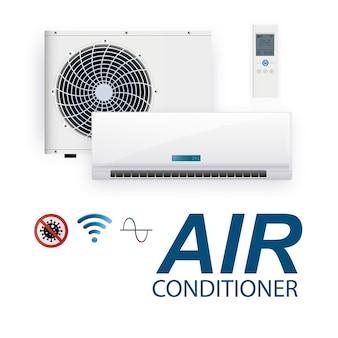 Inversor do sistema de ar condicionado split. condicionamento realista com controle wifi na internet e recursos antivírus e controle remoto. sistema de controle climático de ilustração