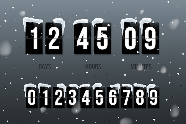 Inverta a contagem regressiva mostrando dias, horas e minutos em fundo de neve com números definidos.