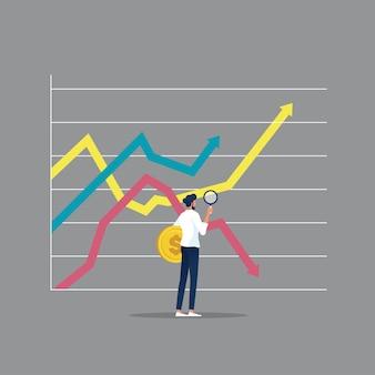 Investidor em busca de oportunidade de investimento no gráfico de crescimento