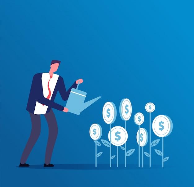 Investidor feliz cresce investimentos em dinheiro.