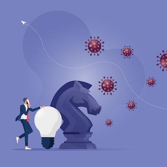 Investidor ou proprietário de empresa com cavaleiro de xadrez e ideia de lutar contra o coronavírus