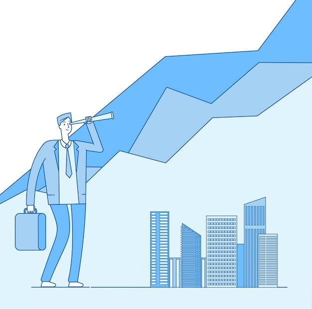 Investidor procurando oportunidade de investimento em luneta
