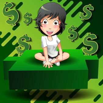 Investidor sente-se no castiçal verde.