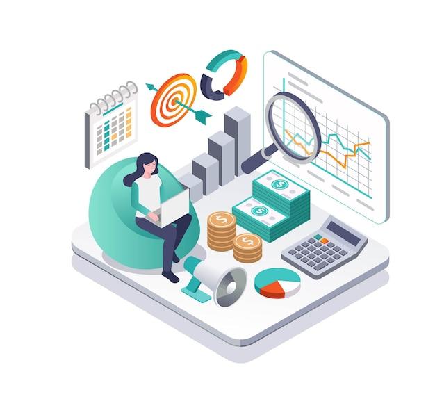 Investidores com analista de dinheiro e dados