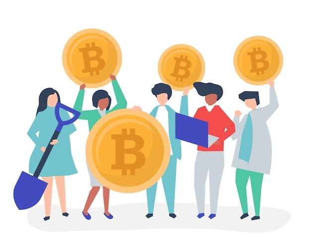 Investidores investindo em bitcoins