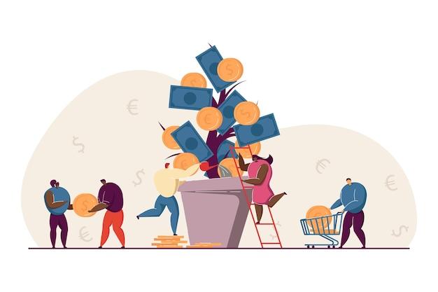 Investidores que crescem em receita, empresários, cuidando de uma enorme planta de caixa no pote