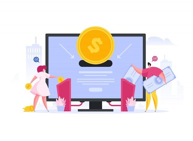 Investidores transferindo dinheiro através de máquinas. ilustração