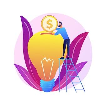 Investimento de capital, patrocínio. doação de dinheiro, financiamento de inicialização, suporte financeiro. elemento de design de filantropia. investidor colocando dinheiro na lâmpada.