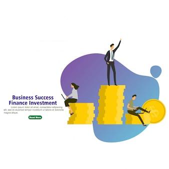 Investimento de finanças de sucesso empresarial