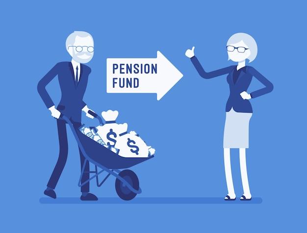 Investimento de fundos de pensão em design plano