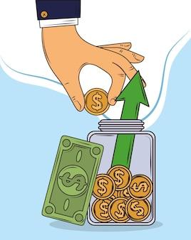 Investimento de moedas de mão
