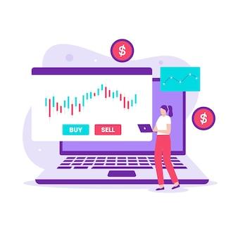 Investimento e negociação no conceito de design de ilustração do mercado de ações. ilustração para sites, páginas de destino, aplicativos móveis, cartazes e banners.