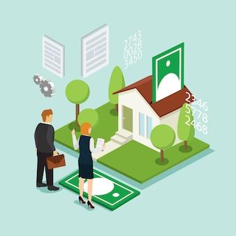 Investimento em casa e crédito com isométrica