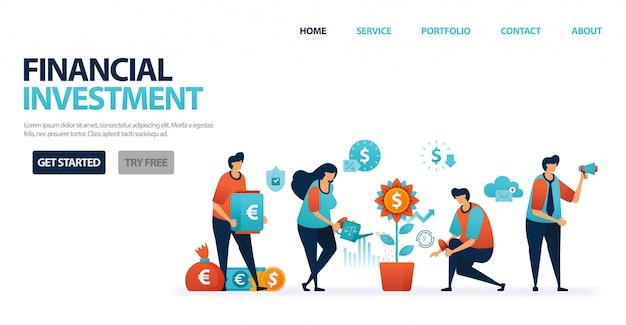 Investimento financeiro com depósitos bancários e fundos mútuos para simplificar o investimento; crédito bancário com juros bancários leves para empréstimos comerciais.