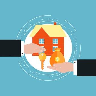 Investimento imobiliário, conceito de hipoteca conceito de ilustração plana
