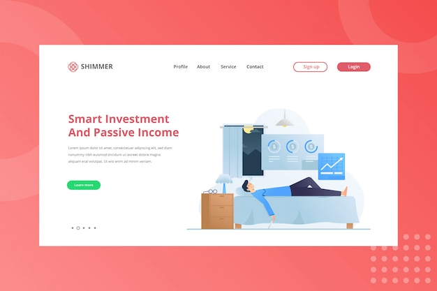 Investimento inteligente e ilustração de renda passiva para trabalhar em casa conceito na landing page