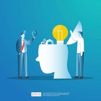 Investimento inteligente na inicialização de tecnologia. análise de negócios do investidor anjo. conceito de pesquisa de ideia de oportunidade com lâmpada de lâmpada e elemento de caráter de empresário.