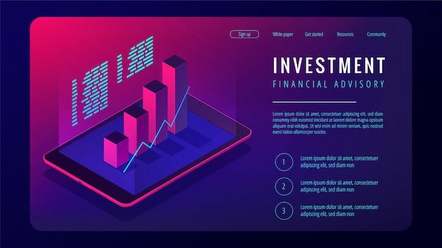Investimento isométrico e conceito de página de destino consultivo financeiro.