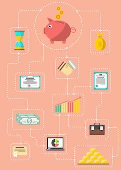 Investimento no conceito de infográfico de valores mobiliários